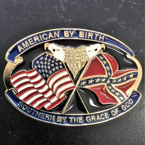 Other - Southern USA Belt Buckle Enameled Metal